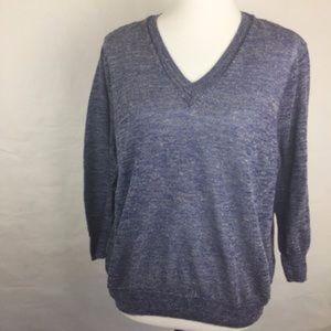 J. Crew Blue Marled Linen V-Neck Sweater